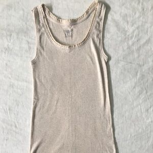 Lands End cream tank with satin detail. Size S
